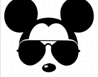 Mickey Mouse SVG sunglasses, Disney Mickey Mouse sunglasses cricut silhouette  file instant download Mickey Mouse head,fileZIP,seal picture