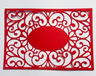 Red and Black Die Cut Decorative Frame Set of 8