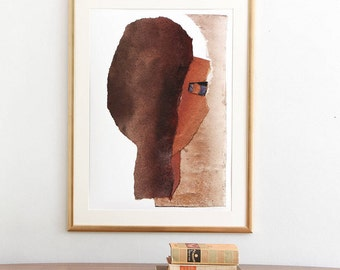 Brown Wall Art Collage, Large Abstract Art Painting, Giclee Print of original artwork