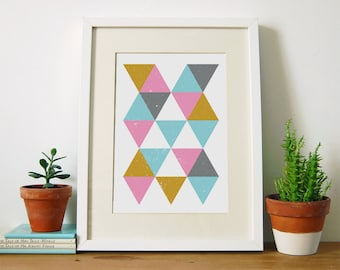 Troika, Geometric Print, Minimalist Art, Nordic Print, Scandinavian Modern, Wall Art, Triangle Print, Home Decor, Gifts For Her, A4, A3