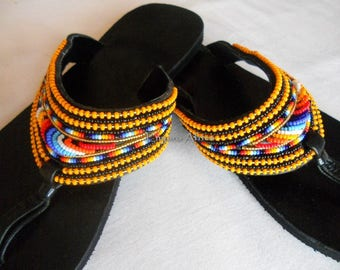 Hippie sandals, boho sandals, leather slippers, leather flat sandals, strappy sandals, leather flip flops, african sandals, beaded sandals