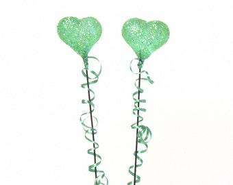 Shimmering Miniature Heart Balloon Green