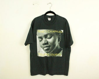 Vintage Tracy Chapman World Tour T Shirt / X-Large / Black / Yellow / Rock Tee / Tour Tee / Anvil / Telling Stories / Matters Of The Heart /