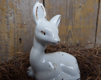 White Porcelain Fawn with Gold Accents, Enesco Collectible, Animal Figurine, Baby Deer, Fawn Statue, Ceramic Giftware, Fawn Resting, 1950's