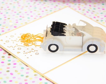 Wedding Car Pop Up Wedding Card, Wedding Pop Up Card, Newlyweds Card, Wedding Anniversary Card, Anniversary Pop Up Card, Just Married