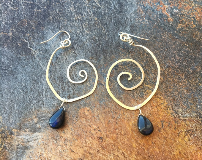Sterling Silver Swirl Earrrings with Labradorite Accents Spiral Hammered Unique