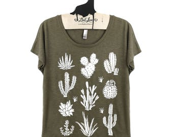Sale Small-  Tri-Blend Olive Dolman Tee with Cactus Screen Print-