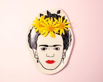 Handmade by Hesukinae Studio, Frida Kahlo Dish, Handmade Plate, Jewellery Dish