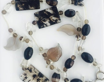onyx jasper agate clear quartz beaded necklace