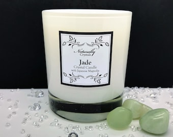 Crystal Candle - Jade, Crystal Healing, Scented Candle, Natural Soy Wax, Hidden Crystal Candle, Gemstone Candle, Natural, Healing