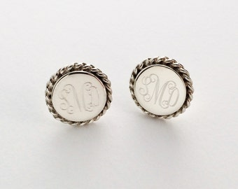 Nautical Rope Monogram Earrings in Sterling Silver for Christmas Present, Women, Bridesmaids
