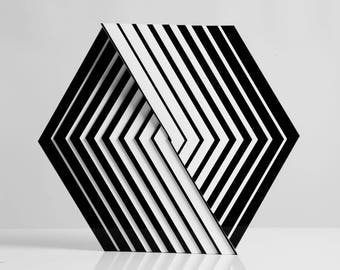 Intersection of 2 cubes-adstract-decor-op art-illusion-optical-origami-living room-home-office-kinetic-black and white