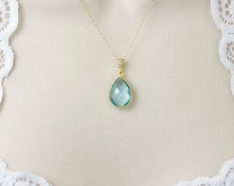 Birthstone Necklace, Bridesmaid Necklace, Stone Necklace, Dainty Necklace, Delicate Necklace, Wedding Necklace, Bridal Jewelry, Silver, Gold