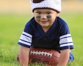 Boys football beanie , boys football hat , boys beanie , boys photo prop, toddler boys hat, baby boys hat, newborn beanie