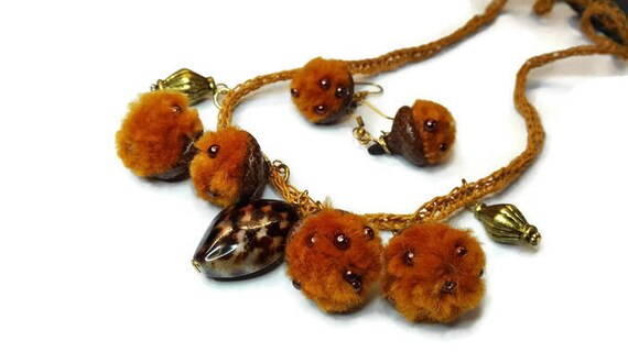 Eco jewelry- natural black oak acorn earrings and necklace with felted pompoms and beads by GunaGesign