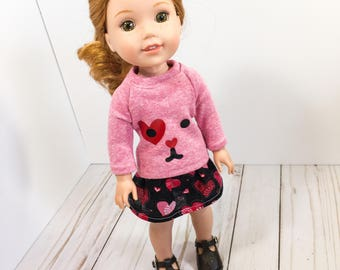 14.5 Inch Doll Clothes- Sweater, Skirt, and doll shoes fits Dolls Like Wellie Wishers doll clothes