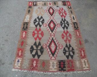 """Diamond design kilim rug, 62"""" x 38"""" , Small size kilim rug, Vintage Turkish rug, pastel kilim rug, kelim, vintage rug, bohemian rug,"""