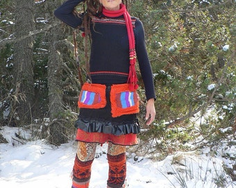 handmade rainbow winter patchwork leggings