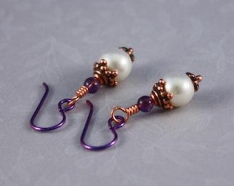 Purple Niobium earrings Antique Copper and Amethyst