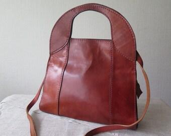 Vintage Genuine Leather Handbag with Shoulder Strap Retro Brown Leather Handbag @209