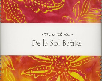 De La Sol Batiks Charm Pack from Moda, Set of 42 5-inch Precut Cotton Fabric Squares (4337PP)