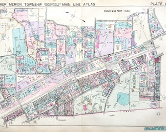 Haverford 1937 Main Line Property Atlas Map Of Lower Merion Township Montgomery County Pennsylvania Haverford school Haverford College