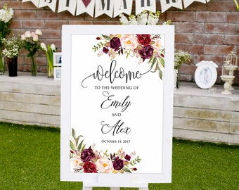 Welcome Wedding Sign, Printable Wedding Reception Sign, Wedding Welcome Sign Template, Wedding Poster, #A047, INSTANT DOWNLOAD, Editable PDF