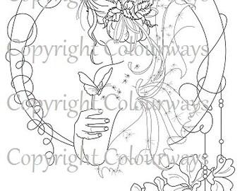 Colouring Sheet ~ Summer's End Fairie Art Colouring Sheet