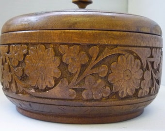 Large Wood Box carved with Flower motif  handmade circa 1940