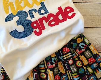 First Day of 3rd Grade Outfit for Girls First Day of School, First Day of Third Grade Outfit Girls, Applique Clothing Girls