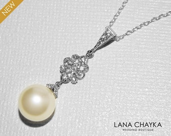 Pearl Bridal Necklace, Swarovski 10mm Ivory Pearl Necklace, Wedding Pearl Silver Necklace, Bridal Bridesmaid Jewelry, Prom Pearl Necklace