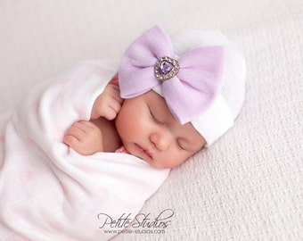 Purple newborn hat with bow, hospital hat baby girl, newborn hospital hat, girl newborn hospital hat purple hat with bow