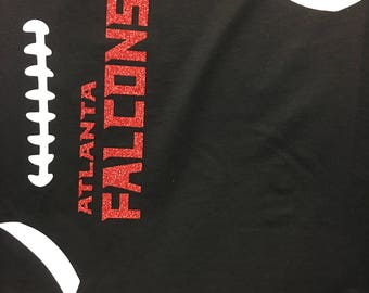 Football Fan-ANY TEAM any COLOR  Glitter Print-Multiple Shirt Options