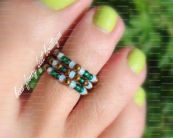 Stacking Toe Ring, Stacking Rings, Mint Green Beads, Copper Beads, Emerald Beads, Toe Ring, Ring, Stretch Bead Toe Ring