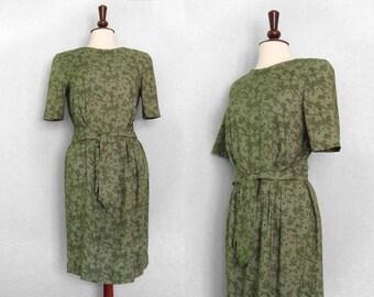 Challis green print dress with mock-wrap skirt