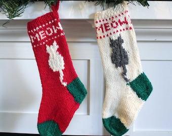 Hand Knit Cat Christmas Stocking