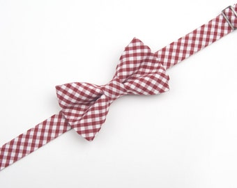 Burgundy Gingham Bow Tie, wine gingham bow tie, burgundy check bow tie, boys bow tie, mens bow tie, toddler bow tie, ring bearer outfit,