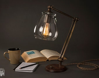 Aged Brass Table Edison Lamp | Aged Brass | Desk Lamp | Edison Light Bulb | Table Lamp | Bed Light | Night Stand | Leora Collection