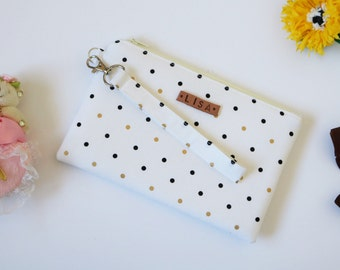Personalized Bridesmaid Clutch, Bridesmaid Gift, Bridesmaid Wristlet in Gold Black Polka