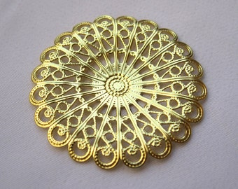6pcs Round Filigree Brass Findings 37.5mm Decorations Fashion Design bf082