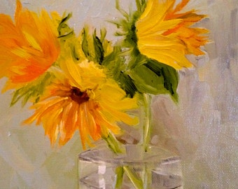 SUNFLOWERS ***** 8 x 10 oil