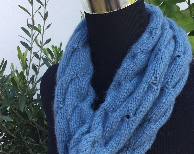 Ladies Blue Alpaca luxury snood by Willow Luxury