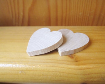 2 heart wood & 2 magnets, kids party gift, kids craft supplies, fridge magnet, wholesale wood craft, custom magnet