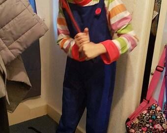 Scary doll chuckie kid play inspired lookalike  fancy dress face prosthetic