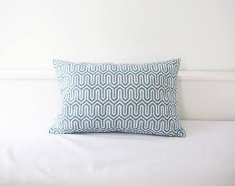 Blue geometric cushion cover, Throw cushion cover, Scatter cushion cover, Throw pillow cover, Decorative pillow cover