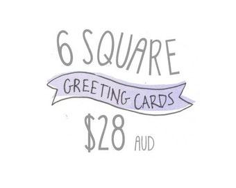 N'importe quel Pack de 6 cartes de vœux carrées de tasse de miel