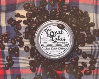 COFFEE BEARD BALM - ' Clear Creek Coffee' Scented Beard Balm w/ Vitamin E ( 2 oz / 56g Tin - Handmade in Canada) Gifts for Him