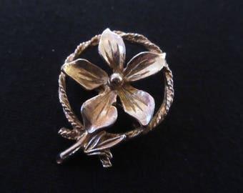 Vintage Small 5 Petal Flower Adornment Brooch