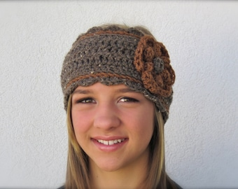 crochet headband brown headwarmer with flower - adjustable size