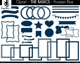 Digital Clipart-The Basics-Prussian Blue-Dark Blue-Digital Elements-Frames-Arrow-Flags-Banner-Labels-Ribbon-Border-Instant Download Clip Art